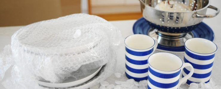 tea cups, plastic wrap