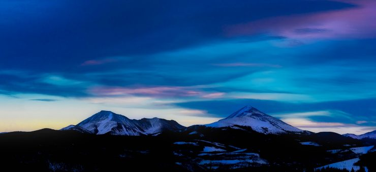 A mountain range in Colorado at sunset.