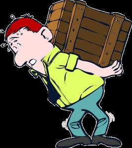 Man carrying heavy box illustration