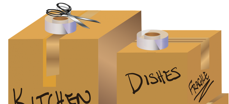 Illustration of moving boxes and other packing supplies