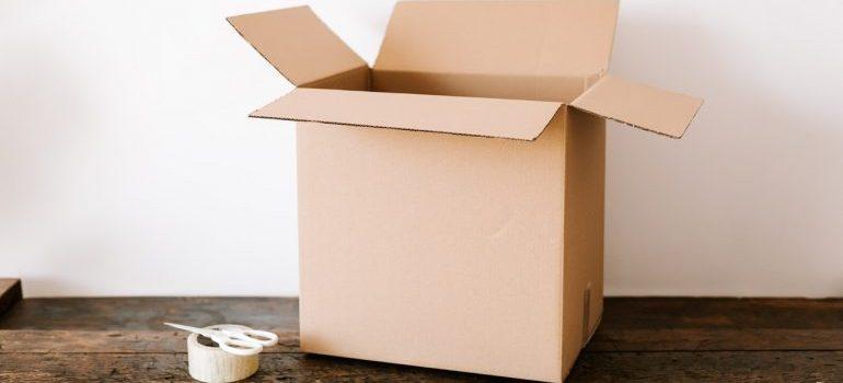 A cardboard box on a table