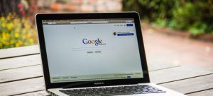 A search engine opened in a web browser on a laptop