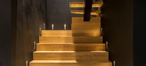 A set of wooden stairs