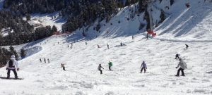 Several people skiing down the mountain