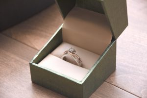 A silver colored ring