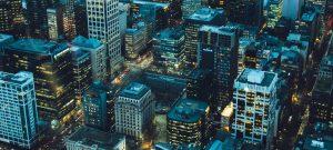 Aerial view of a Denver city