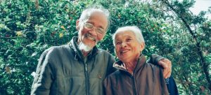 An older couple smiling