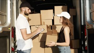 mover, woman and boxes